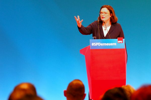 Andrea Nahles bei ihrer Bewerbungsrede