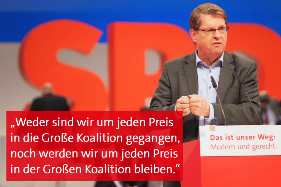 """""""Weder sind wir um jeden Preis in die Große Koalition gegangen, noch werden wir um jeden Preis in der Großen Koalition bleiben,"""" sagt Ralf Stegner"""